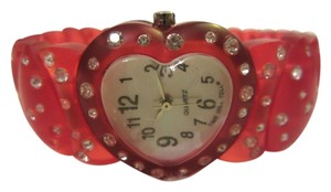 Time Will Tell New TIME WILL TELL TRANSLUCENT RED HEART RHINESTONE ANALOG QUARTZ BATTERY