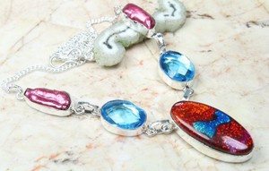 Dichroic Glass & Gemstone Fashion Necklace Free Shipping