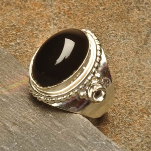 Silver Plated Black Onyx Fashion Ring Free Shipping