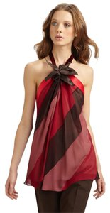 Marc Jacobs New 2011 Runway Bias Stripe Burgundy Silk Flower Floral Halter 8 Medium Chiffon Flowy Deep Back Open Back Top Red, Multi-Color