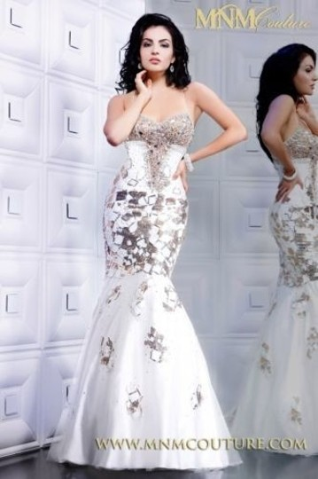 MM Couture White with Gold Swarovski Crystals Satin Mermaid Sexy Bridesmaid/Mob Dress Size 4 (S)
