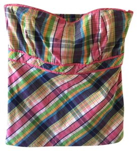 Lilly Pulitzer Strapless Preppy Bustier Multi Plaid Halter Top