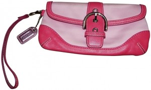 Coach Leather Canvas Removable Strap Wristlet in Pink