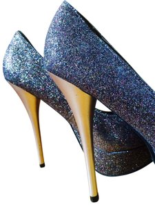 Eva & Zoe Stiletto Multicolored Shimmer Platforms