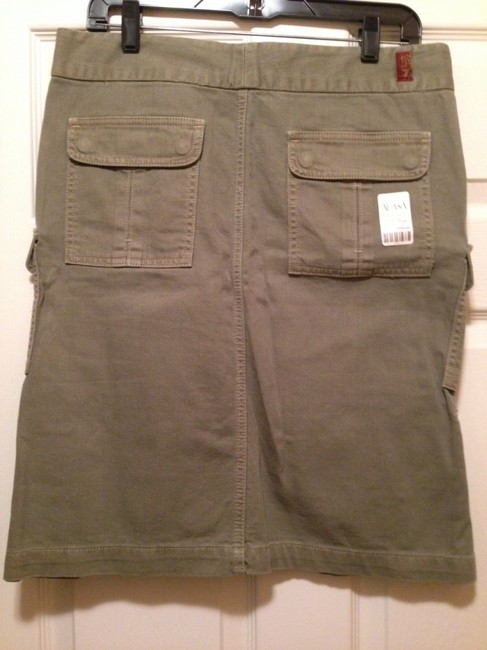 7 For All Mankind Twill Cargo Flare Skirt Dill