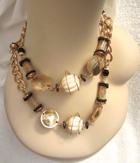 Other VRBA Station Strand Coin Bead Chain Necklace SIGNED