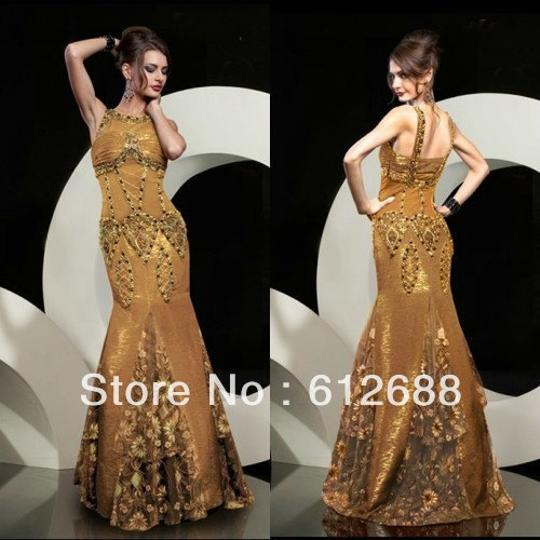 MM Couture Gold 5666 Formal Bridesmaid/Mob Dress Size 2 (XS)