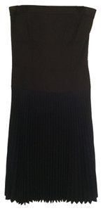 DKNY Strapless Wool Pleated Color-blocking Ombre Dress