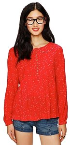 Free People Babydoll Peterpan Top Red