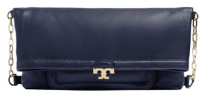 Tory Burch Pebbled Leather Chain Navy Messenger Bag
