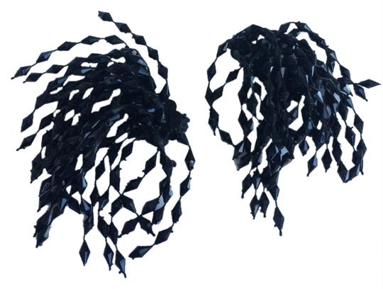 Other Vintage Black Beaded Dangling Clip On Earrings