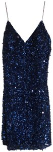 Bloomingdale's Navy Designer Formal Bead Beaded Strap Spaghetti Strap Knee New Dress