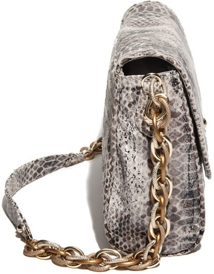 Elliott Lucca Leather Snakeskin Interior Pockets Magnetic Closure Shoulder Bag