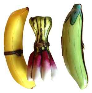 Limoges Banana, Pead Pod & Raddish Porcelain Keepsake Boxes