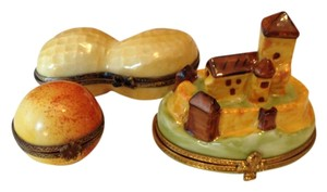 Limoges Castle, Peanut & Peach Porcelain Keepsake Boxes