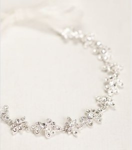 David's Bridal Silver Ribbon Tie Headband with Crystal Floral Design Hair Accessory