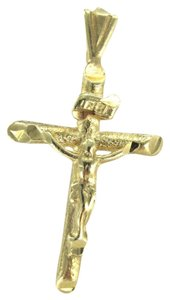14KT KARAT YELLOW GOLD PENDANT 0.7 DWT CROSS CRUCIFIX JESUS CATHOLIC CHRISTIAN