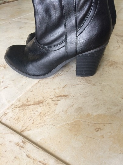 JustFab Karsta Faux Leather Faux Leather Heel Chunky Winter Simple Black Boots