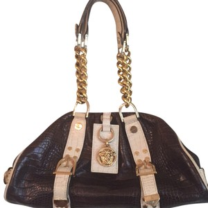 Versace Satchel in Brown/cream