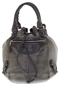 Balenciaga Pompon Covered Leather Satchel in Gray