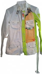 Custo Barcelona White with neon green and human face Jacket