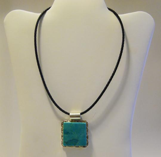 Mine Finds by Jay King Mine Finds by Jay King .925 Sterling Silver Square Design Turquoise Enhancer with Leather Cord