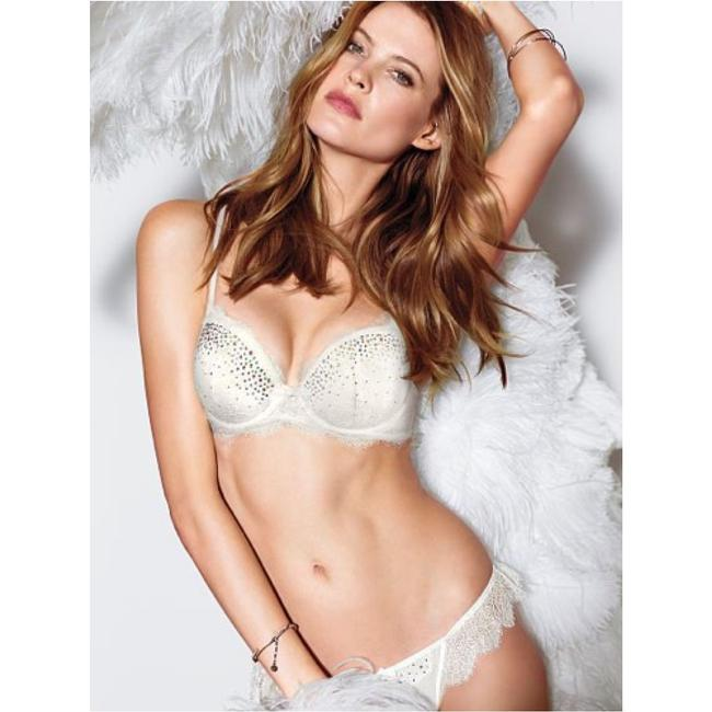 Victoria's Secret Vs Sexy Bra Demi Dream Angels Lace Wedding Bride Bridal Holiday Crystal Diamond Bling Swarovski Fashion Show London Top White