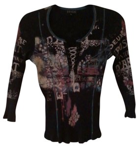 VENUS Lace Up French Design Tee Top Black