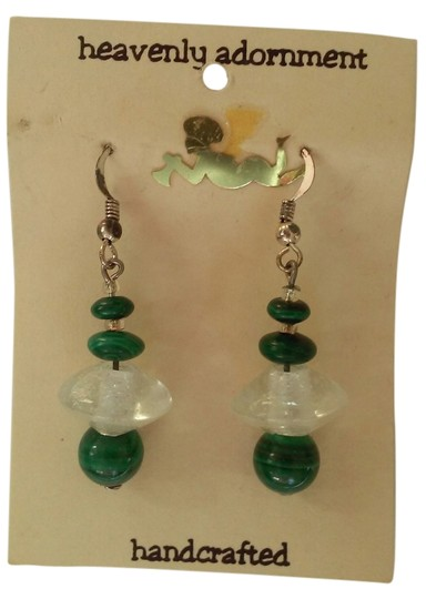 Preload https://item1.tradesy.com/images/green-clear-and-silver-handmade-beaded-french-hook-dangle-drop-earrings-4175320-0-0.jpg?width=440&height=440