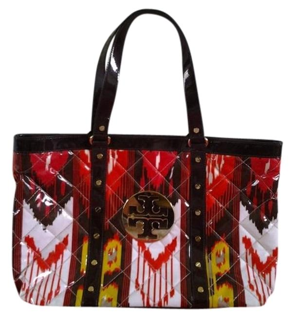 Item - Gold Logo with Red Yellow and Brown Patent Leather Tote