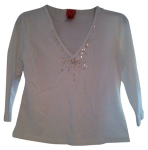 Vera Wang Rhinestones Embellished Top White