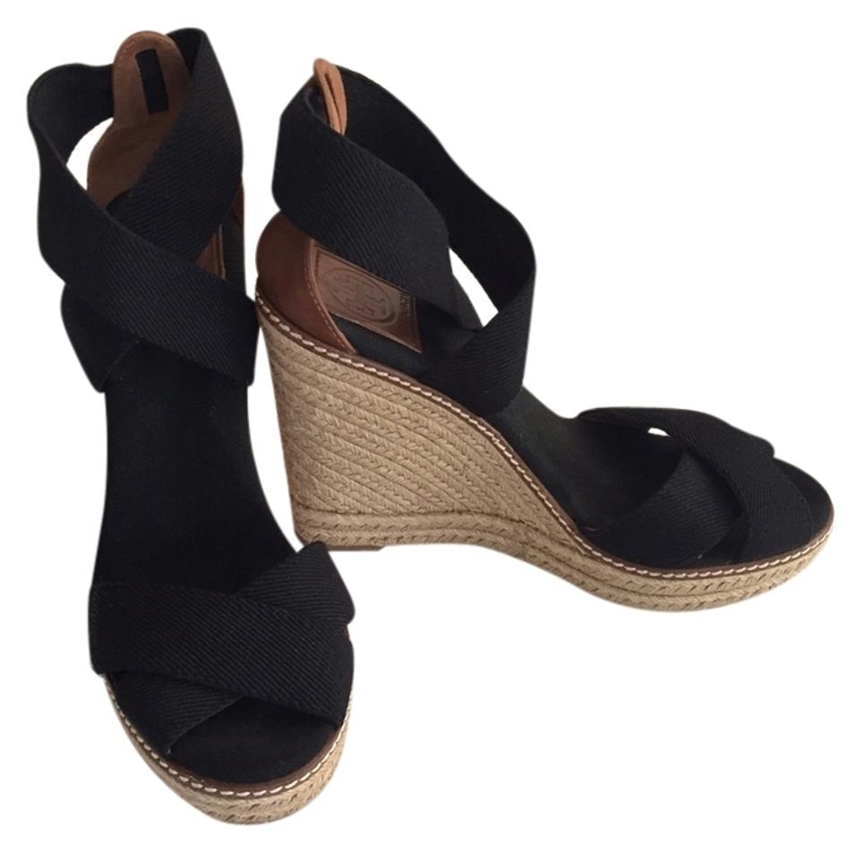 6bbfb47ccdce Tory Burch Black Adonis 110mm Espadrille Wedges Size US 8.5 Regular ...