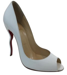 Christian Louboutin Patent Jolly White Pumps