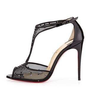 Christian Louboutin Patent Mesh Patinana 100mm Black Pumps