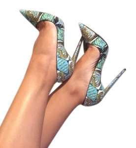 Christian Louboutin Python Snake Inferno So Blue Pumps