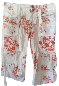 Da-Nang Comfortable Floral Capris White & Orange