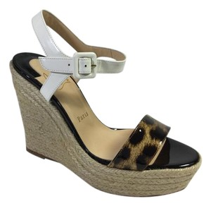 Christian Louboutin Leopard Wedge Espadrille Multi-Color Wedges