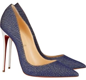 Christian Louboutin Louboutin Kate White Stiletto Blue Pumps