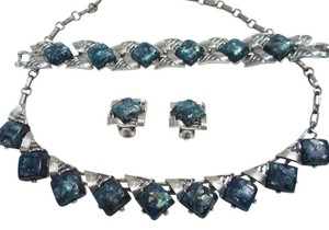 Other Coro 1950's Parure Blue Confetti Necklace Earrings Bracelet Set -- Mint!