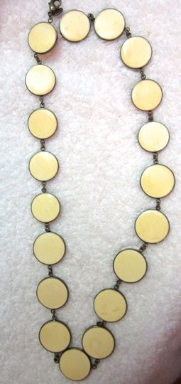 Lee Angel Lee Angel Yellow White Gray Enamel Disk Strand Necklace