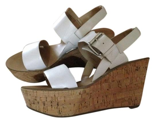 Marc Fisher Leather Sandals Wedges Wedge Sandals Leather Cork Sole White Platforms