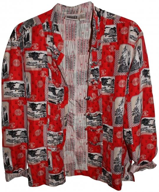 Chico's Asian Silk Button Down Shirt Red Multi