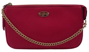 Coach Pebbled Leather Wristlet Pink Ruby Clutch