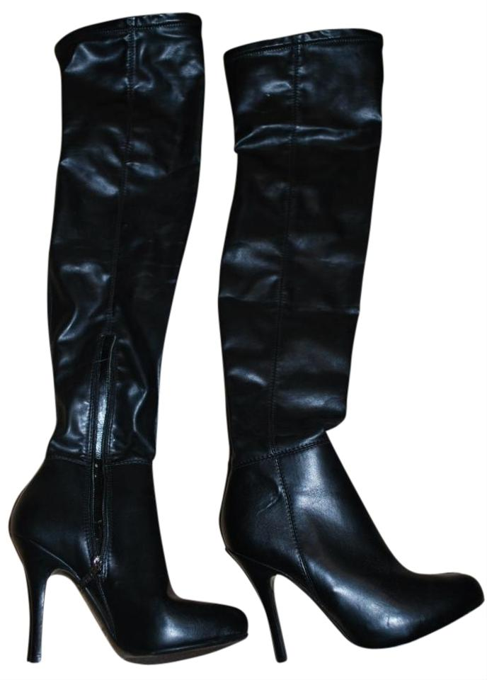 Guess Black Boots Thigh High Leather Boots Size 7 54 Off