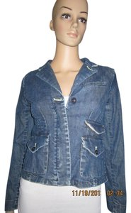Anthropologie Classy Preppy Jean Jacket Top Dark Denim