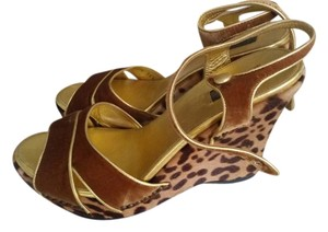 Prada Vintage Wedge Brown, Gold and Leopard Wedges