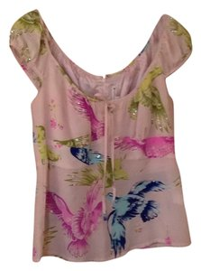 Nanette Lepore Top Light pink with multi-colored birds