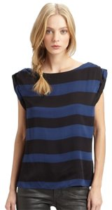Alice + Olivia Silk Striped Comfortable Top black and navy