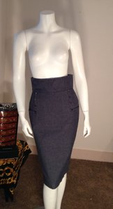 Tulle Pencil Skirt Blue Denim