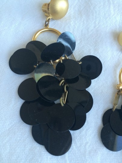 Other Vintage Large Dangle Sequin Black Clip On Earrings
